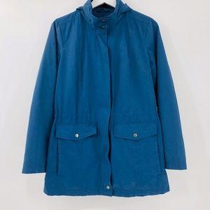 J Jill Cinch Waist Hooded Twill Utility Jacket
